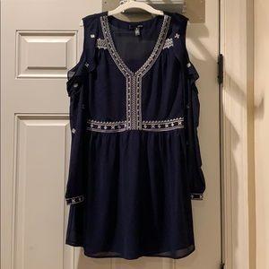 AQUA LONG SLEEVE DRESS (navy blue)